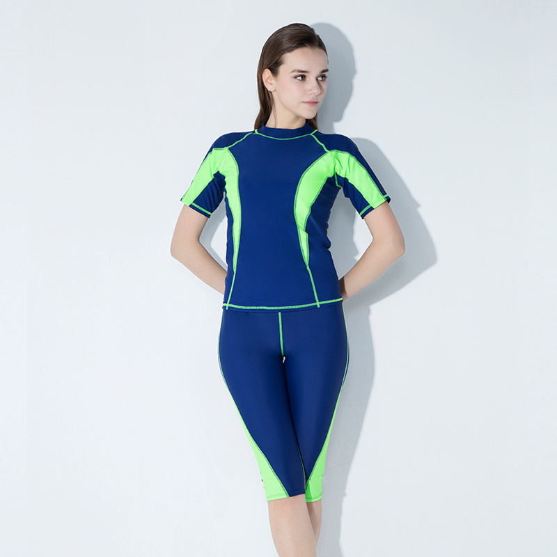 c8f0f11a30 Hot Summer Girls Sport Long Sleeves Two Pieces Surfing Swimwear Women  Swimsuit Snorkeling Patchwork Bathing Suit Lady Beach Wear-in Body Suits  from Sports ...