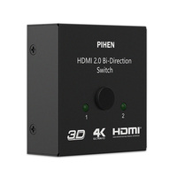 PIHEN 4K*2K HDMI Switcher 1 in 2 out port Hub Audio Video Screen Splitter for TV Monitor Projector PS3/PS4 Computer TV Box VCR