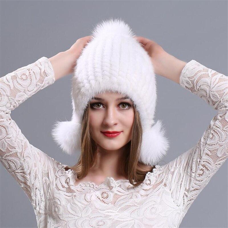 Женские вязаные шапки IANLAN, зимние однотонные шапки-ушанки из натурального меха норки, меховые шапки с ушками из меха лисы, IL00038
