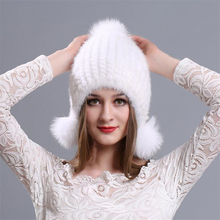 IANLAN Fashion Winter Solid Knit Real Fur Bomber Hats Women Mink Caps Fox Earmuffs Ladies Ear Cuffs IL00038