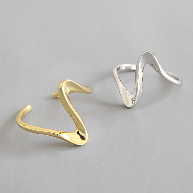 Conscientious Real 925 Sterling Silver Wave Pattern Rings For Women Gold Color Accessories, Personalized Geometric Curve Ring 925 Jewelry Outstanding Features