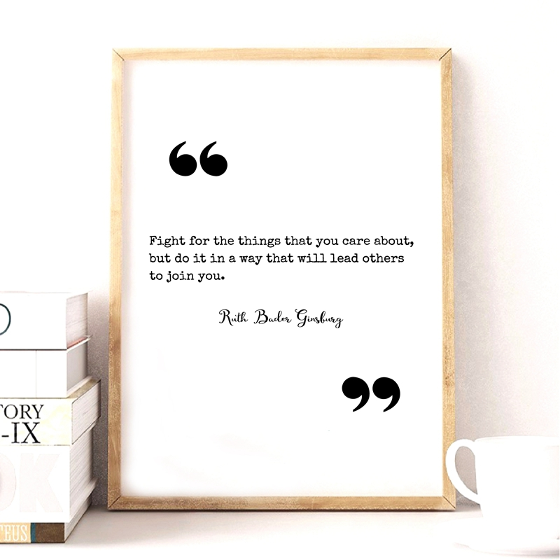 Notorious Rbg Quote Poster And Print Ruth Bader Ginsburg Quotes Wall Art Canvas Painting Black White Picture Home Decor Calligraphy Aliexpress