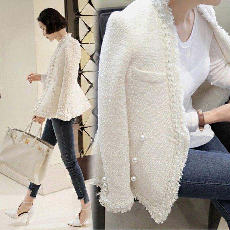 Laine Dame Manteau Hiver Glands Chaud De Black Femme Perles Tweed 2018 Vintage Élégant Femmes white Veste dqXwU0xnH5