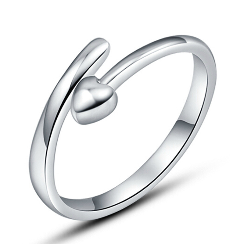 Hot 925 Sterling Silver Heart shaped Rings For Women Romantic Wedding Bands  Promise Ring Jewelry Wholesale Adjustable Opening-in Rings from Jewelry ... b19324f81d