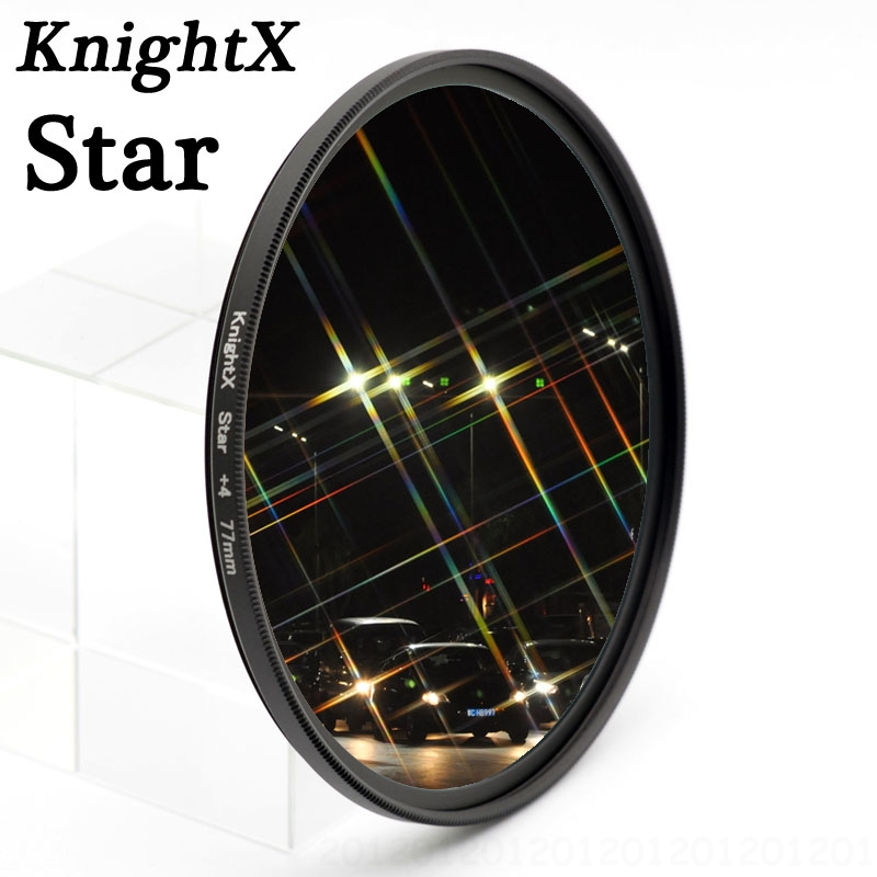 KnightX Star 4 6 8 filter For Nikon 100d 7000 7100 5200 D3000 D3100 D3200 t3i t5i T5 700d d5500 750 D5600 49 52 55 58 62 67 77mm