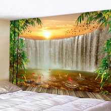 Waterfall Landscape Tapestry Wall Hanging Decorative Tapestries Art Carpet Home Decor Boho Hippie L59in