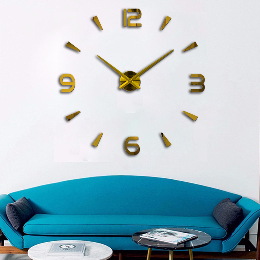 120 Cm X120cmsuper Big DIY Wall Clock Acrylic+EVR+Metal Mirror Super Big Personalized Digital Watches Clocks