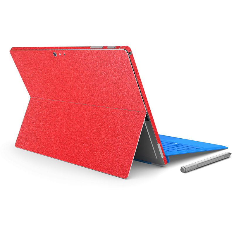 Red Color Leather Protective Decal Protector PVC Skin Cover Stickers for Micro for Surface Pro 4