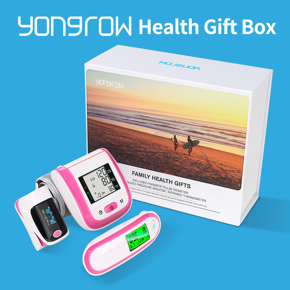 Yongrow NEW Family Health Gift Box Pulse Oximeter SpO2 Wrist Blood Pressure Monitor Ear Infrared Thermometer