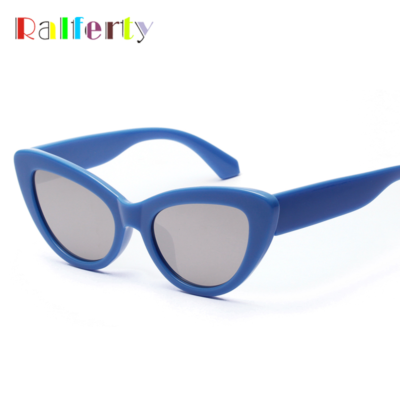6ea8d3638f0be Ralferty 2018 Retro Cat Eye Sunglasses Women Blue Mirrored Acetate Sun  Glasses UV400 Vintage Sunnies Female Shades W813037-in Sunglasses from  Women s ...