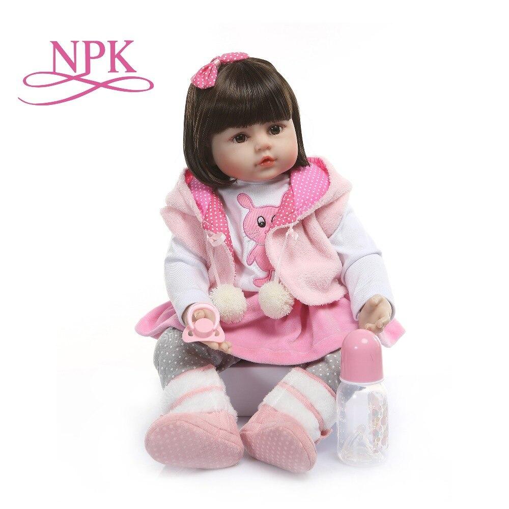 NPK Pink Rabbit 60CM reborn toddler girl realistic soft silione vinyl bebe doll reborn brown short