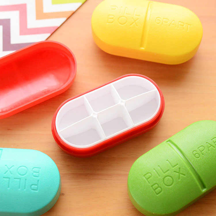 ミニピルボックス折りたたみコンテナ医薬品タブレット収納トラベルケースホルダーミニかわいいプラスチックピルボックス 6 グリッド医学ケース