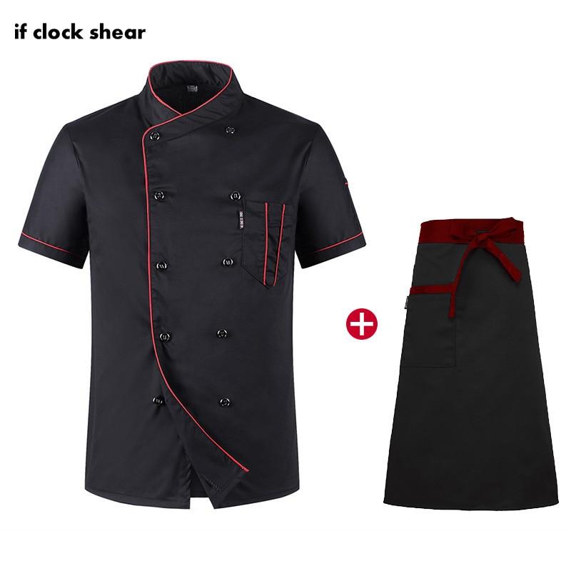 Restaurant Hotel Kitchen Workwear Chef Short Sleeve Set Men And Women Youth Breathable Thin Jacket+Apron Chef Restaurant Uniform