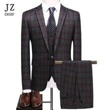 JZ CHIEF 3 Piece Plaid Man Suit Slim Fit Wedding Groom Suit Jacket Casual Business Blazer Pants Vest Elegant Suit For Prom Male