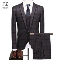 JZ CHIEF 3 Piece Plaid Man Suit Slim Fit Wedding Groom Suit Jacket Casual Business Blazer Pants Vest Elegant Suit For Prom Male