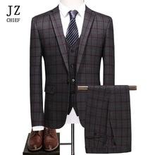 JZ CHIEF 3 Stuk Plaid Man Suit Slim Fit Bruiloft Bruidegom Pak Jas Casual Zaken Blazer Broek Vest Elegante Pak voor Prom Mannelijke
