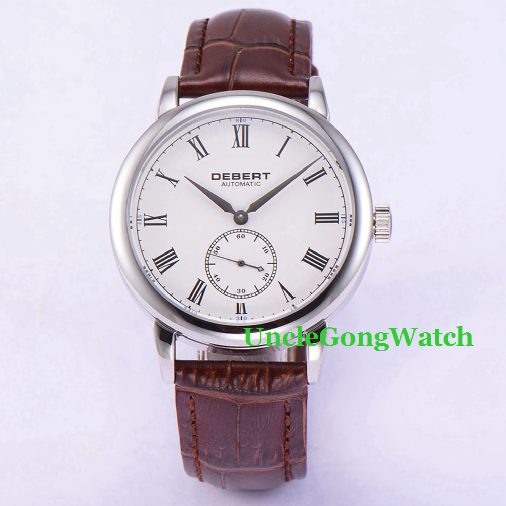 Debert 40mm White Dial Sapphire Crystal Roman Marks Brown Leather Strap Polished Case Mens Automatic Watch women s clothing jeans high waist pencil jeans stretch denim trousers skinny slim pants