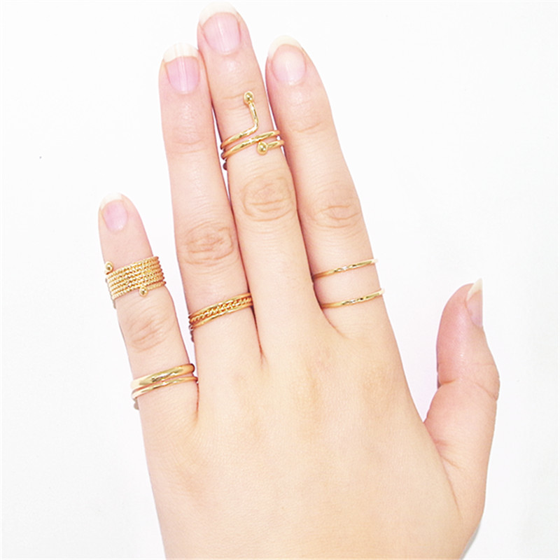 5Pc//Set Mode Punk Manucure Cristal Strass longue pince à ongles Finger Ring New