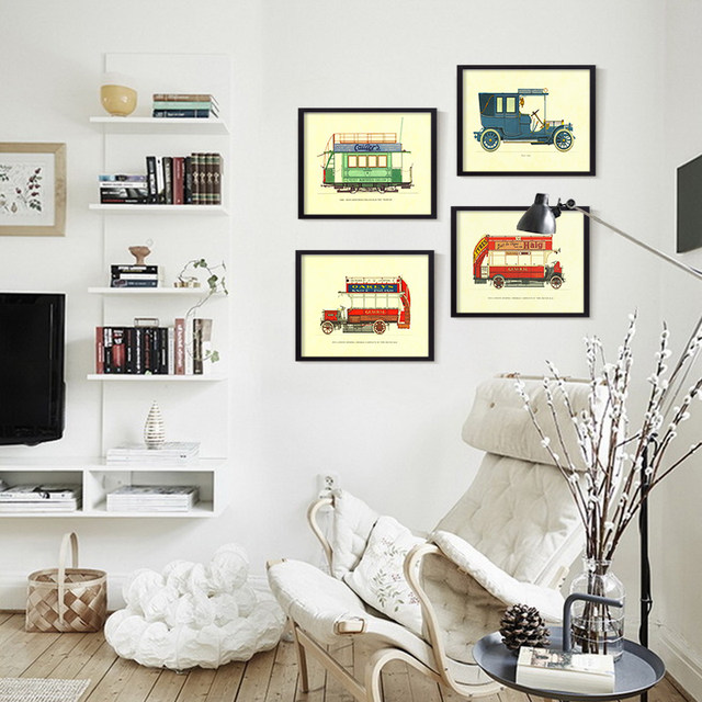 Modern Famous Vintage Retro Car Collection A4 Large Art Print Poster Hipster Wall Picture Canvas Painting No Frame Cafe Bar Deco
