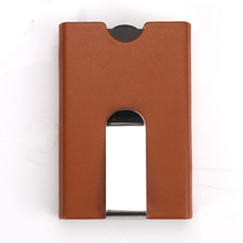 15PCS / LOT Aluminium  Metal Creative Travel Card Case PU Leather Pull Type Security Card Box Business Credit Mini Card Walletsr