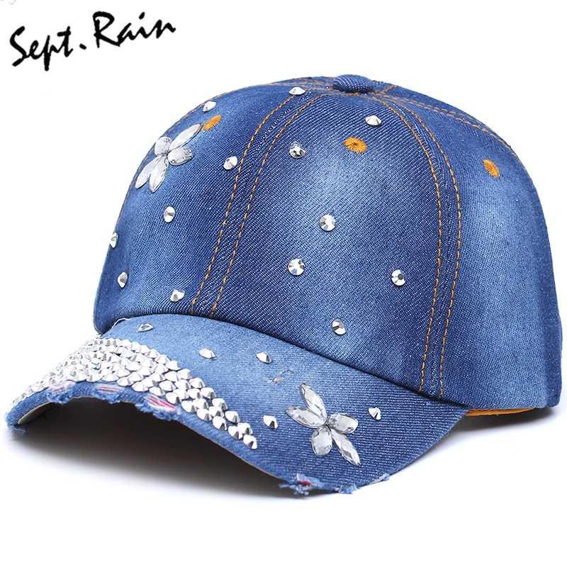 03afecff2279b The most Fashion Rhinestone Baseball Caps Adjustable Women Diamond Flowers Baseball  Hats Summer Style Lady Jeans