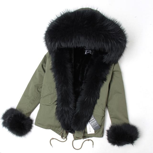 US $47.52 40% OFF|mini True Fur Parka women jacket winter Hooded Warm raccoon fur coat Natural raccoon fur casual Parkasfaux fur coatLining in Parkas
