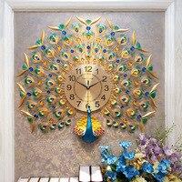 Europe peacock wall clocks Creative crystal peacock wall decor large wall clock for living room metal wall decorations