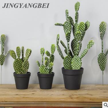 32cm/40cm Cactus Artificial Succulents Fake Plastic Opuntia Faux Green Desert Plants Large Flower Arrangement Home Garden Deco