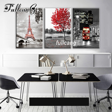 FULLCANG Full Square Diamond Embroidery Tower Scenic Triptych Diy 5D Painting Cross Stitch Mosaic Needlework Kits D941
