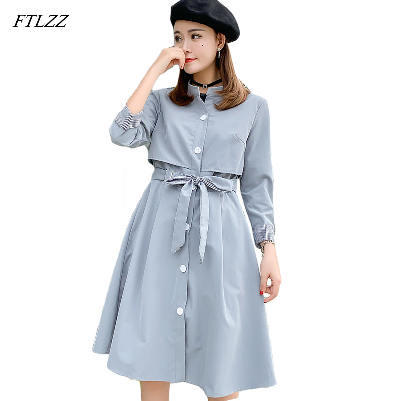 FTLZZ New Slim Long Trench Coat Women Striped Long Sleeve With Belt Windbreaker Coat Autumn Spring Casual Ladies Outerwear