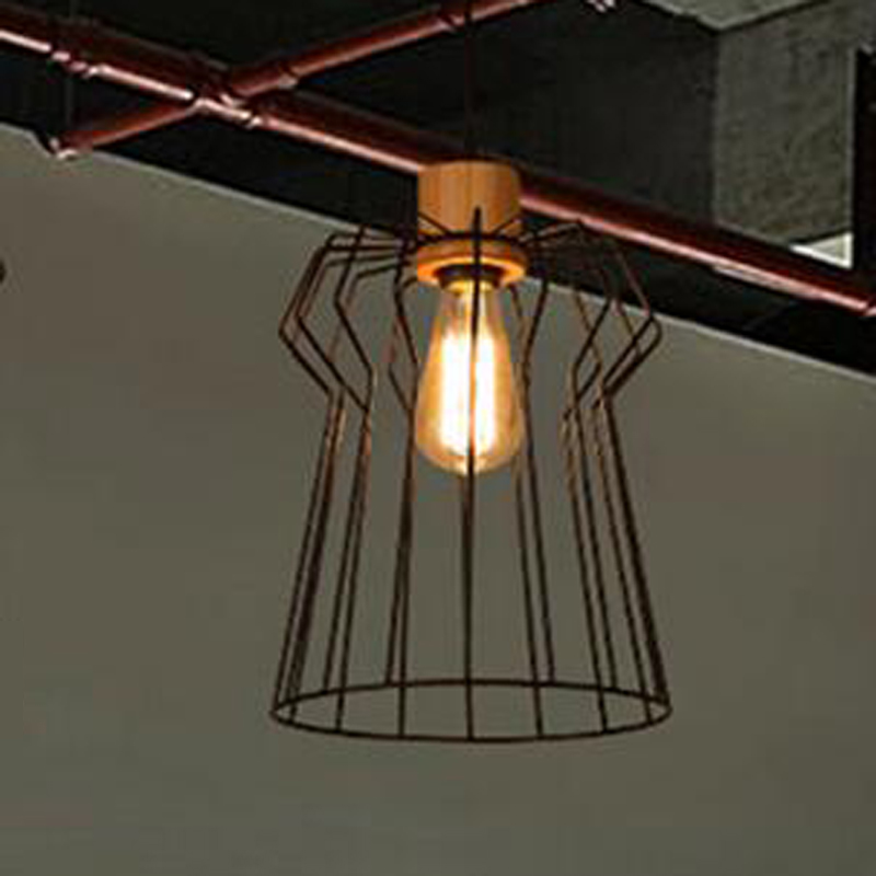 Pendant Lights industrial wind retro cafe restaurant bar wrought iron wooden network pendant lamps LU728298 LU1026 mini world mn202