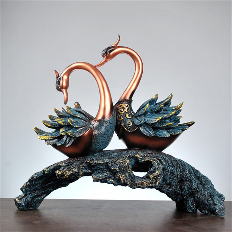 Modern Abstract A Couple of Swan Statue Ornaments Home Decoration Accessories Wedding Gift Resin Sculpture Retro Craft Estatuas Скульптура