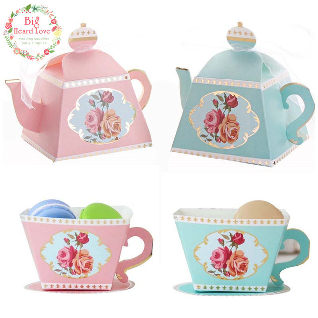 big heard love 25pcslots teacup teapot wedding gift candy box baby shower favors gift