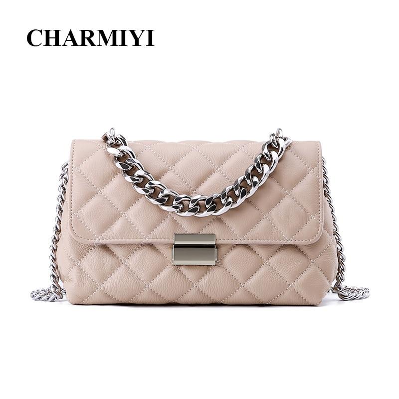 CHARMIYI Famous Brand 2018 Genuine Leather Women Messenger Bag Fashion Chain Lady Small Shoulder Crossbody Bag Bolsas Feminina цена