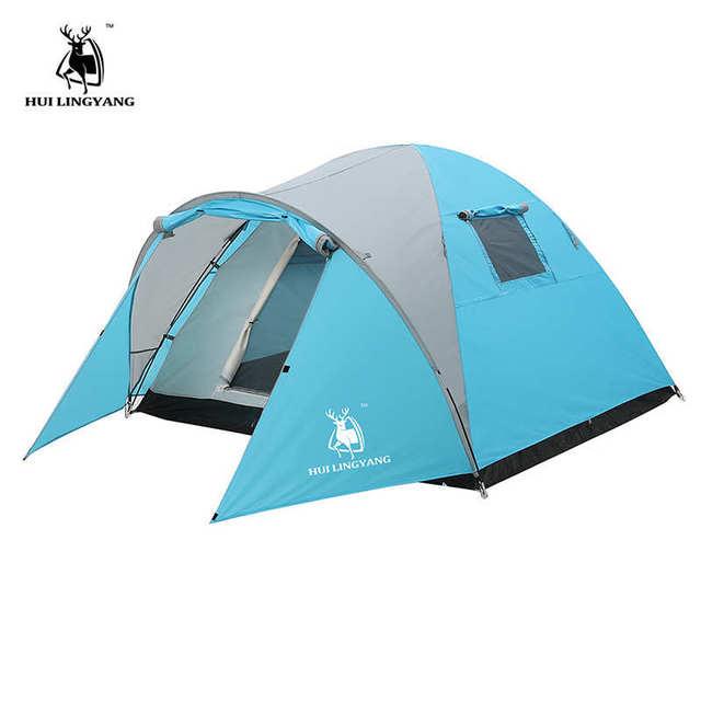 3 4 Person Outdoor Tent Hiking Large Waterproof Beach Camping Windbreak Dual