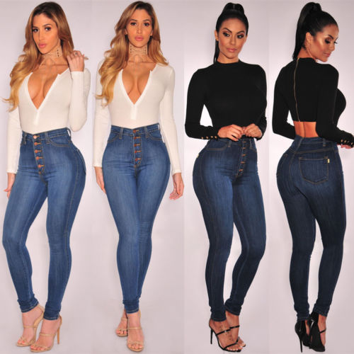 New Womens Ladies Casual Extreme Stretch Skinny Slim High Waisted Denim Jeans Lady Women Brief Solid Casual Brief   Pant     Capris