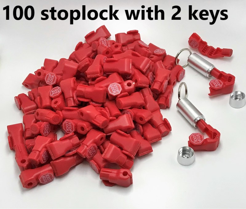 Free delivery 100pcs lot 2pcs magnetic detacher key EAS anti theft stop lock for display security