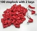 Бесплатная доставка! 100 шт./лот + 2 шт. Магнитный detacher ключ EAS Противоугонный стоп-замок для дисплея безопасности крюк стволовых & peg stoplock