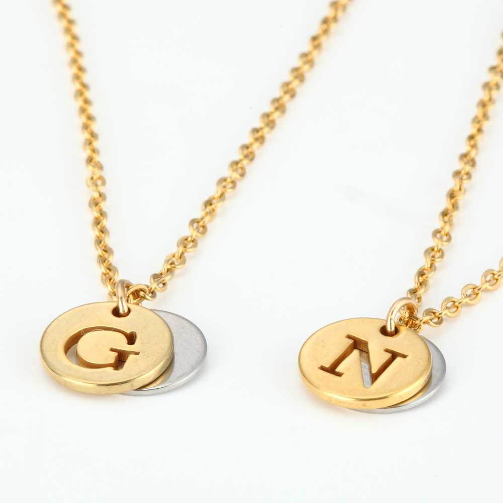 453cdc38e ... 26 Letter Personalized Name Jewelry Gold Engrave Letter 2 Discs Choker  Monogram Custom Initial Necklace Pendant ...