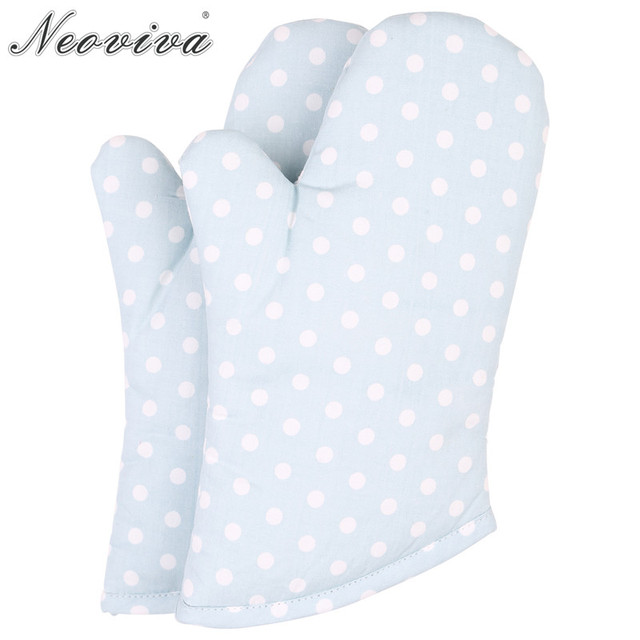 Neoviva Spots Fabric Quilting Kids Oven Gloves For Play Kitchen Set Of 2 Polka Dots Baby Blue Protective Mitt Glove Cooking