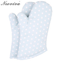 Neoviva Spots Fabric Quilting Kids Oven Gloves for Play Kitchen Set of 2 Polka Dots Baby Blue Protective Mitt Glove for Cooking