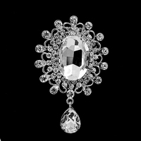 3 Inch Elegance Silver Planted Teardrop Crystal Dangle Crystal Brooch for Wedding Bouquet Jewelry Pins Party gift
