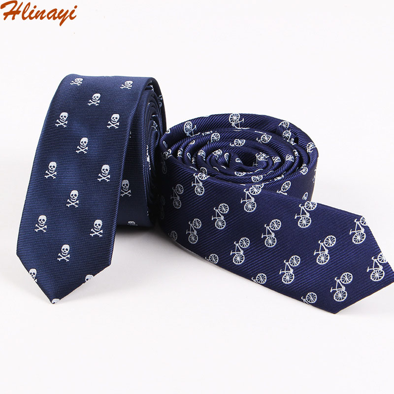 Hlinayi Men's Polyester Skull And Bicycle Halloween Tie