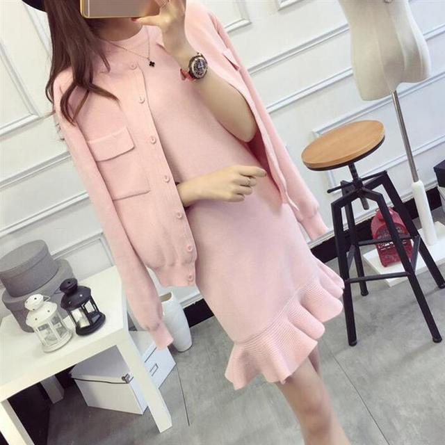 Autumn Winter Women Dress Suit Set Solid Casual Knit Coat With Tank