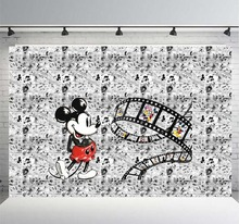 Mickey Mouse Banner 1st Birthday Photography Backdrop Baby Shower Photo Backgrounds for Children Party Studio Props