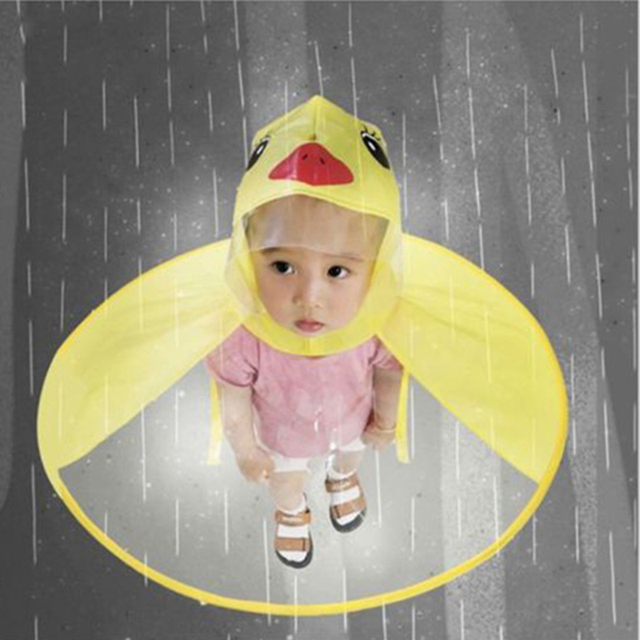 Yellow Duck Kids Raincoat UFO Cap Umbrella Automatic Folding Umbrella  Children Hat Creative Raincoat Gift Student f3e29cbf5d2b