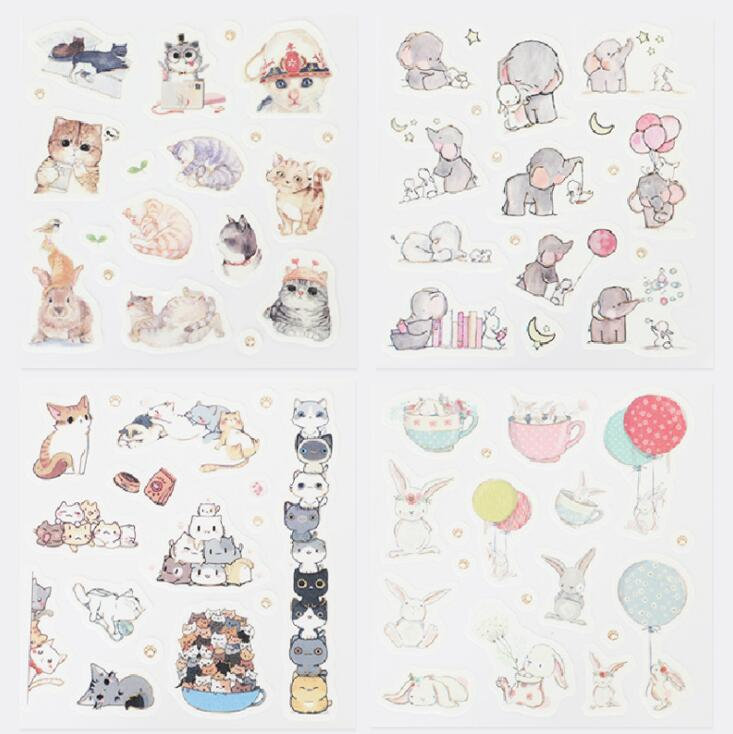 4 Pcs/pack Lovely Cat Jenga Decorative Stationery Stickers Scrapbooking DIY Diary Album Stick Label