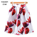 1 Unidades de Algodón Moda mujer Plus Tamaño de Impresión Falda Larga Retro Flores de Amapola Barrido Grande Umbrella Faldas