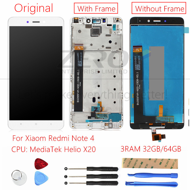 US $20 82 15% OFF|Original For Xiaomi Redmi Note 4 MediaTek LCD Display +  Frame Touch Screen Panel LCD Digitizer Display Redmi Note 4 MTK Parts-in