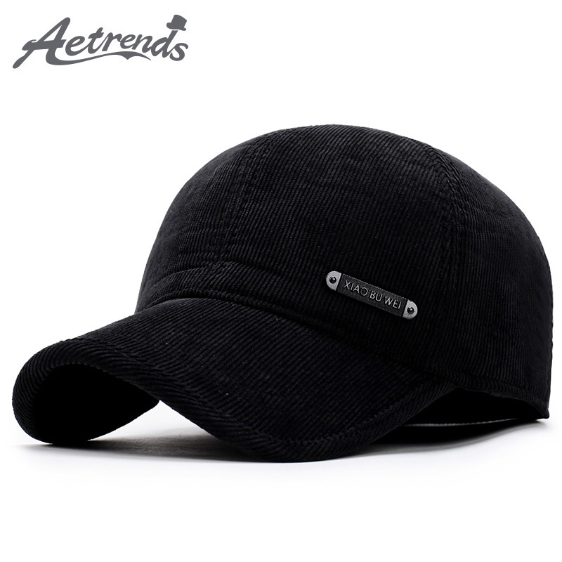 [AETRENDS] Winter Male Hats for Men Corduroy   Baseball     Cap   with Ears Protection 6 Panel Black   Cap   Dad Hat bone masculino Z-5922